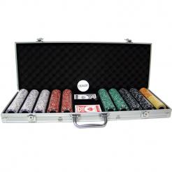 500 coin inlay poker chip set in an aluminum case