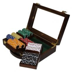 300 Coin Inlay Poker Chip Set in a Walnut Case with 3 removable chip trays