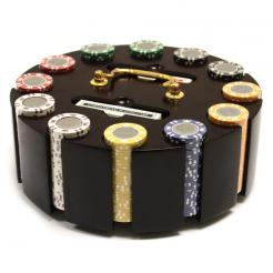 300 coin inlay poker chip set in a wooden chip carousel