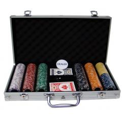 300 coin inlay poker chip set in an aluminum case