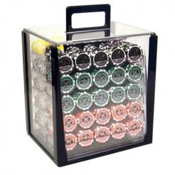 1000 ultimate poker chip set in an acrylic poker chip carrier with 10 chip trays