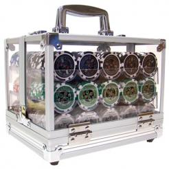 600 ultimate poker chip set in an acrylic chip carrier with 6 chip trays