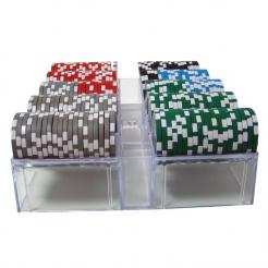 200 Ultimate poker chip set in an acrylic chip tray