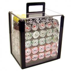 1000 royal flush poker chip set in an acrylic chip carrier with 10 chip trays