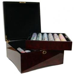 750 royal flush poker chip set in a mahogany case