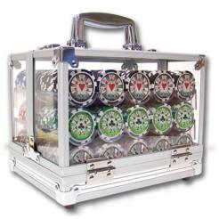 600 royal flush poker chip set in an acrylic chip carrier with 6 chip trays