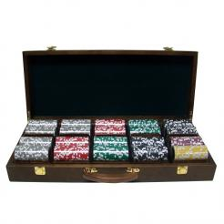 500 royal flush poker chip set in a walnut case