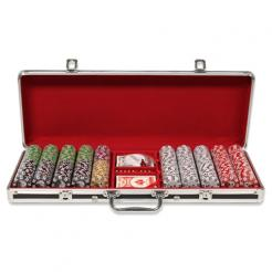 500 royal flush poker chip set in a black aluminum case