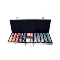 500 royal flush poker chip set in an aluminum case