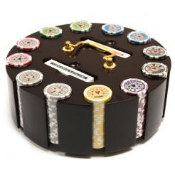 300 royal flush poker chip set in a wooden chip carousel