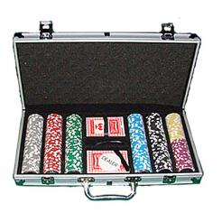 300 royal flush poker chip set in an aluminum case