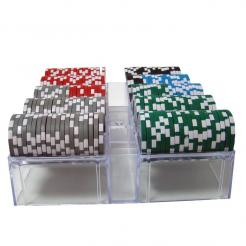 200 royal flush poker chip set in an acrylic chip tray