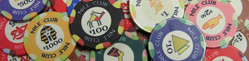 Nile Club Poker Chips are a casino grade 10 gram ceramic poker chip