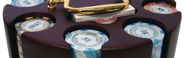 The high quality wooden Poker Chip Carousel is the classic way to store poker chips